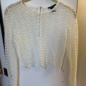 Forever 21 White Lace Long-Sleeved Top